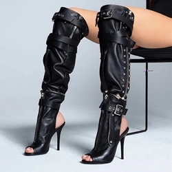 Shoespie Black Slingback Zipper Peep Toe Rivet Thigh High Boots