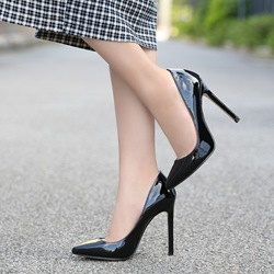 Shoespie Black Slip On Stiletto Heels