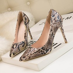 Shoespie Snake Print Slip on Stiletto Heels