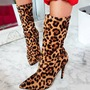 Shoespie Sexy Leopard Pointed Toe Stiletto Heel Ankle Boots