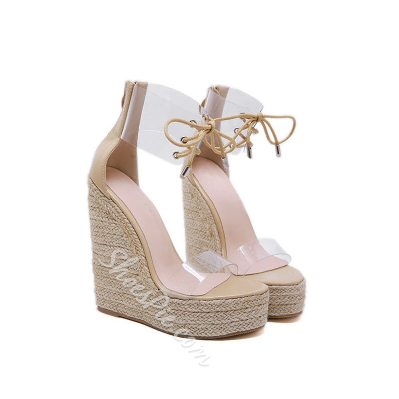 Shoespie Clear Lace Up Wedge Heel Sandals