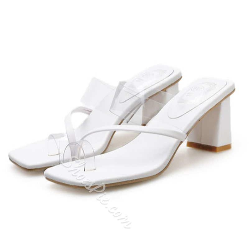 Shoespie Clear Toe Ring Chunky Heel Slippers