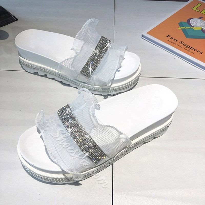 Shoespie Lace Rhinestone Casual Slippers