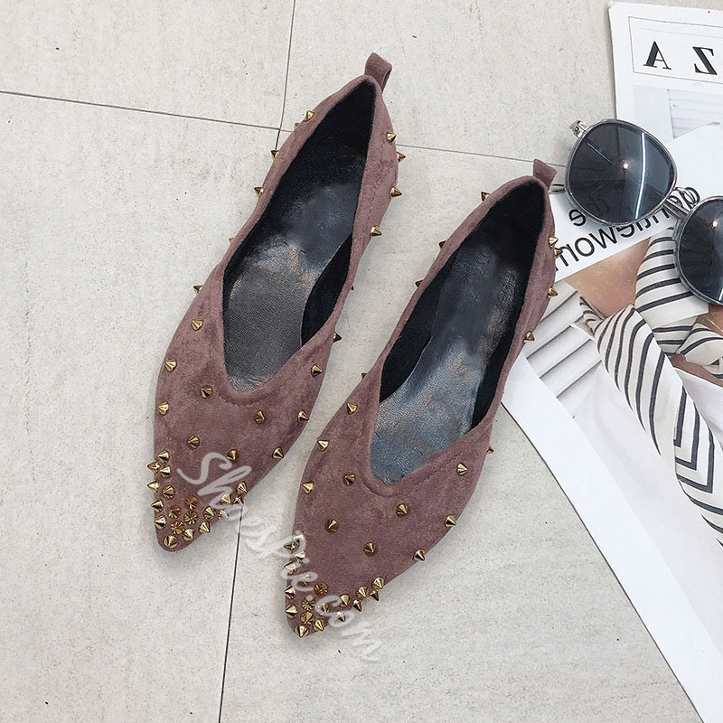 Shoespie Rivet Pointed Toe Flats