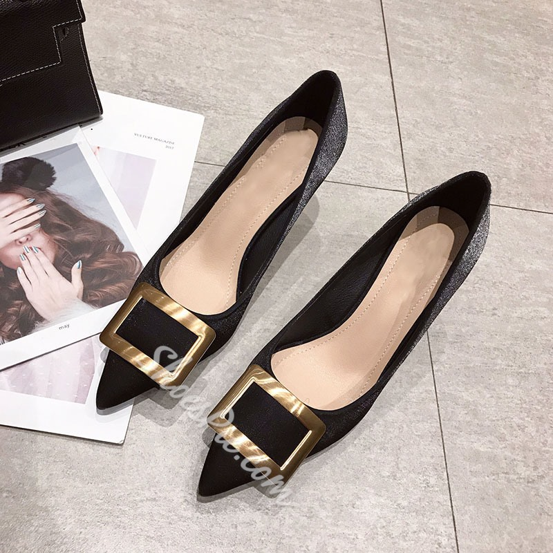 Shoespie Buckle Sequin Pointed Toe Stiletto Heel