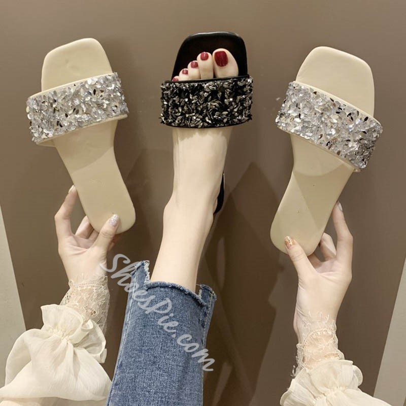 Shoespie Black Rhinestone Flat Slippers