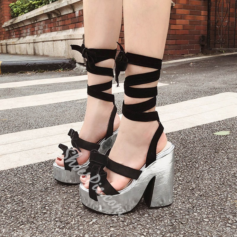 Shoespie Platform Black Chunky Heel Strappy Sandals