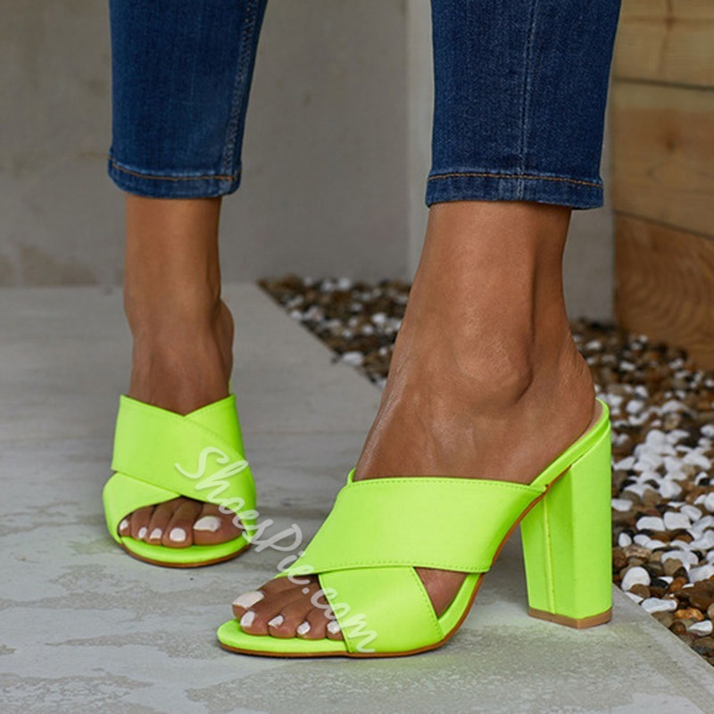 Shoespie Neon Cross Hollow Summer Slippers