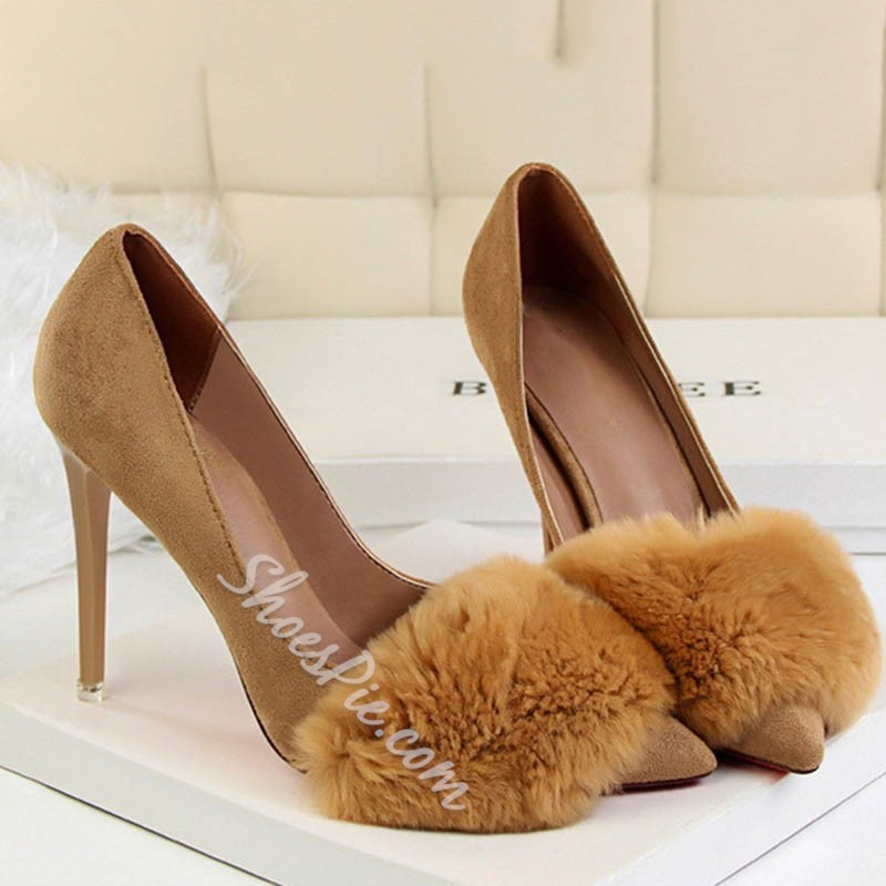 Shoespie Fluffy Pointed Toe Stiletto Heels