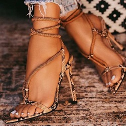 Shoespie Stylish Lace-Up Stiletto Heel Open Toe Sandals