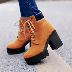 Shoespie Platform Lace-Up Casual Ankle Boots