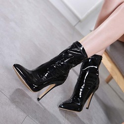 Shoespie Stylish Stiletto Heel Black PU Boots