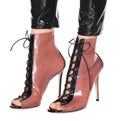 Shoespie Trendy Open Toe Lace-Up Stiletto Heel Clear Boots