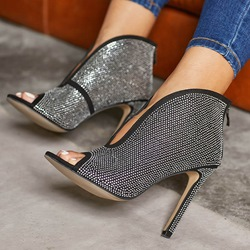 Shoespie Stylish Peep Toe Zipper Rhinestone Ankle Boots