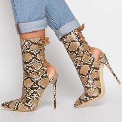 Shoespie Stylish Lace-Up Pointed Toe Stiletto Heel Hollow Boots