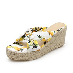 Shoespie Print Wedge Heel Slip-On Slippers