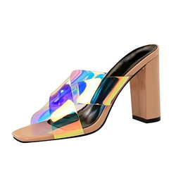 Shoespie Clear Cross Chunky Heel Color Block Slippers
