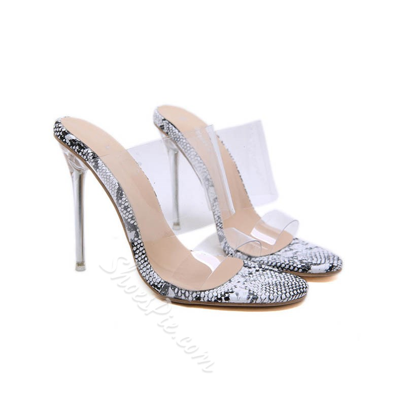 Shoespie Sexy Stiletto Heel Jelly Slip-On Mules sandals