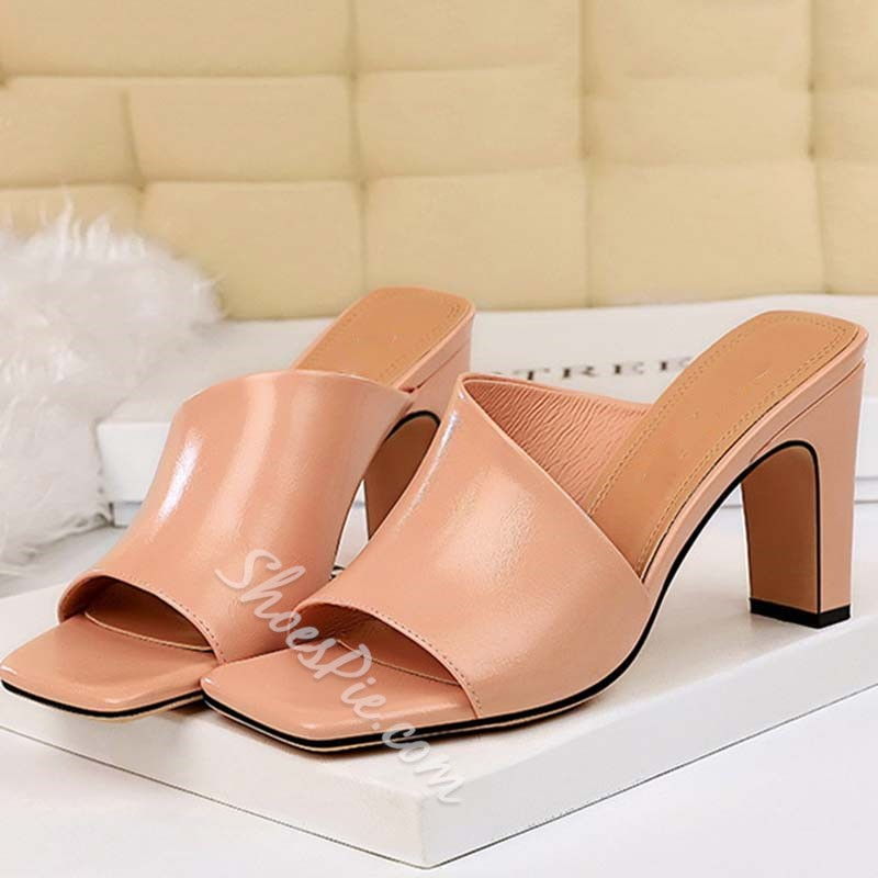 Shoespie Trendy Thread Slip-On Chunky Heel Slippers