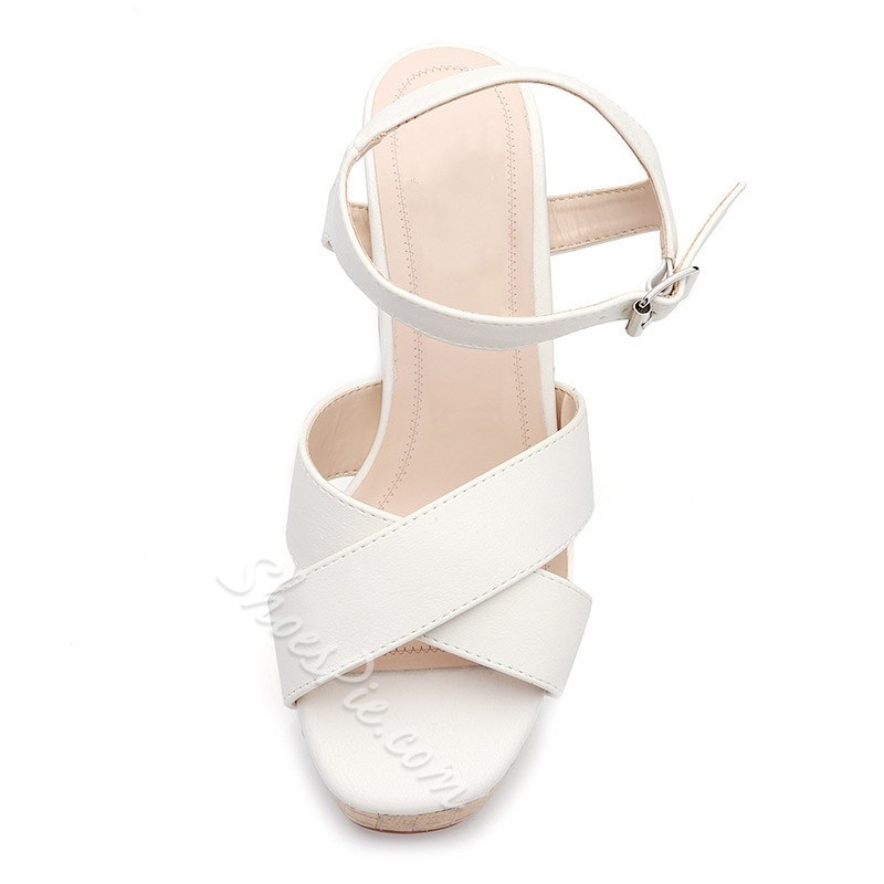 Shoespie Stylish Buckle Chunky Heel Ankle Strap Thread Sandals