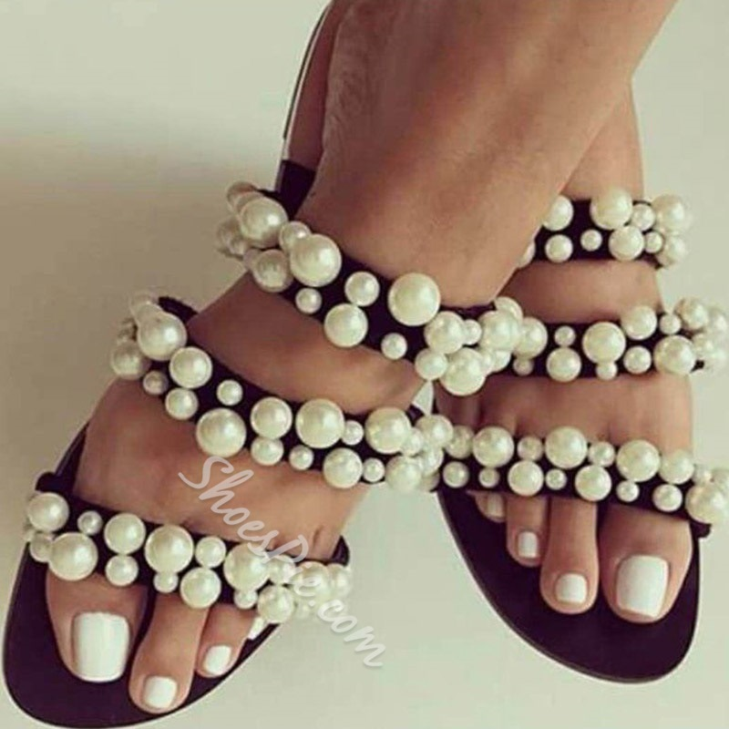 Shoespie Flat Beads Casual Slippers