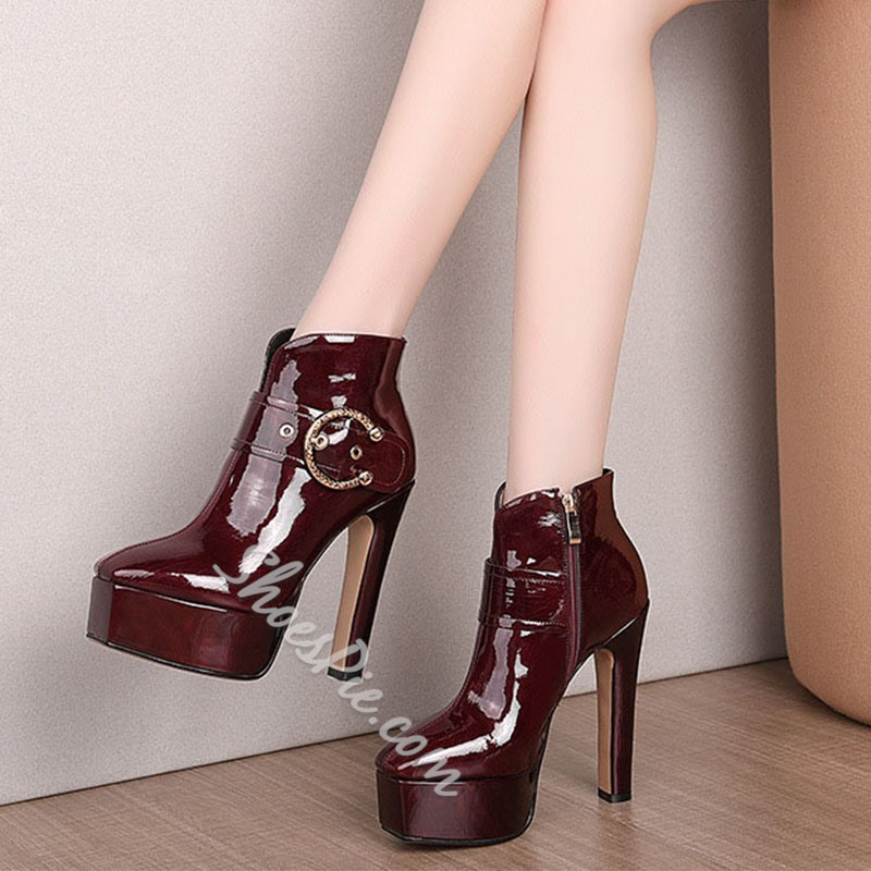 Shoespie Sexy Plain Square Toe Side Zipper Western Boots