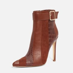 Shoespie Stylish Stiletto Heel Color Block Pointed Toe Zipper Boots
