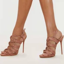 Shoespie Stylish Open Toe Buckle Stiletto Heel Low-Cut Upper Sandals