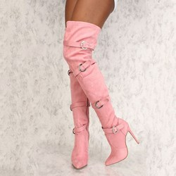 Shoespie Stylish Side Zipper Pointed Toe Buckle Thread Knee High Boots