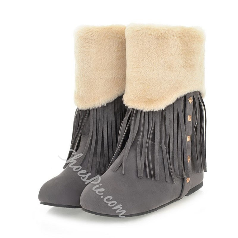 Shoespie Stylish Round Toe Patchwork Slip-On Snow Boots