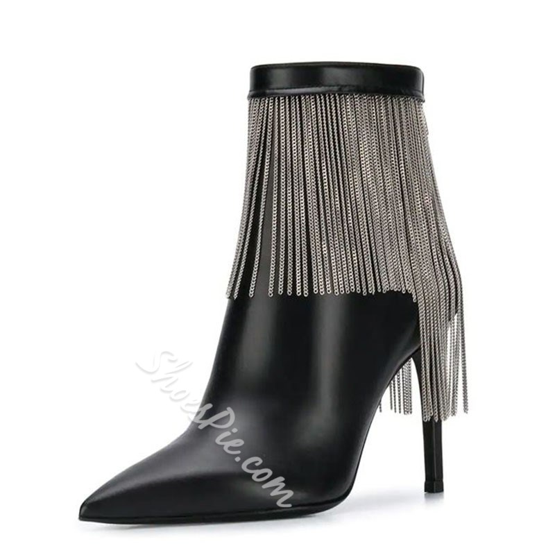 Shoespie Stylish Plain Stiletto Heel Tassel Fashion Boots