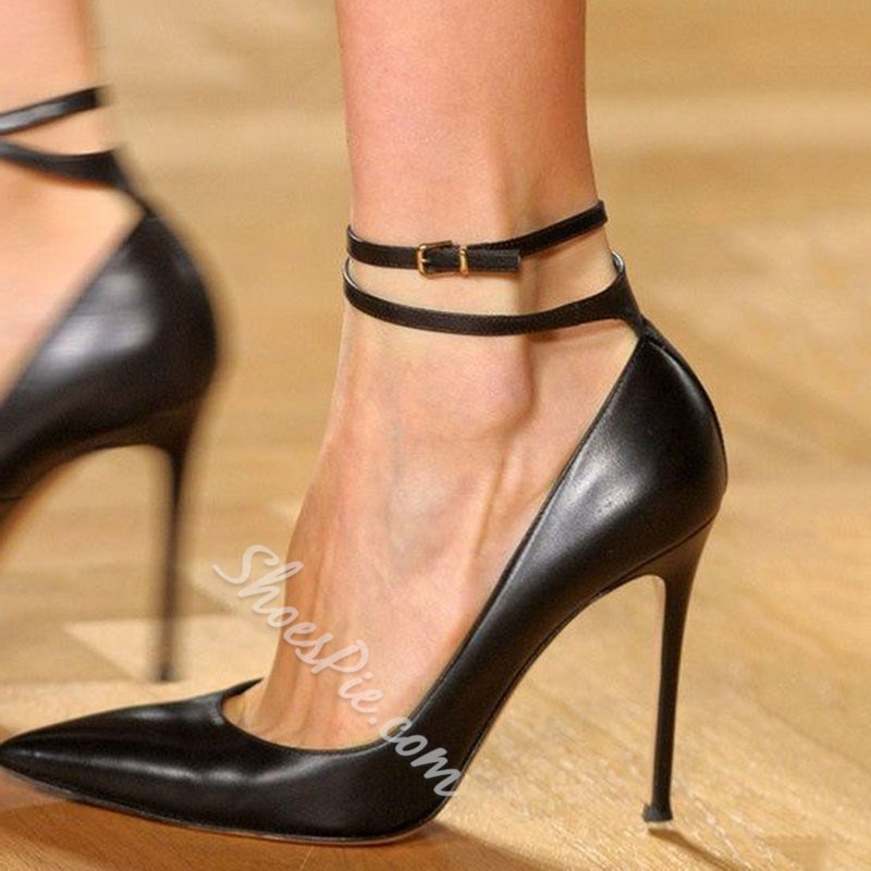 Shoespie Trendy Buckle Black Stiletto Heel Pointed Toe Plain Thin Shoes