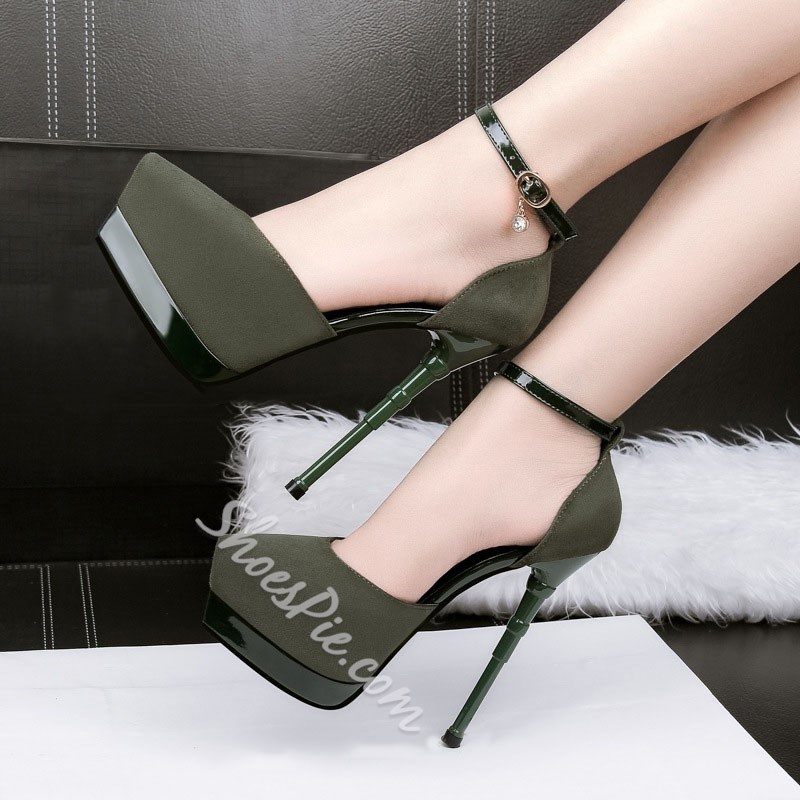Shoespie Sexy Pointed Toe Line-Style Buckle Stiletto Platform Heel