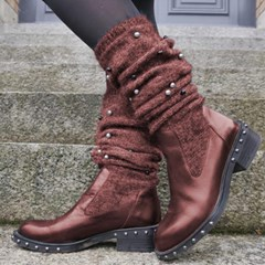 Shoespie Stylish Round Toe Plain Slip-On Mid-Calf Casual Boots