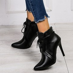 Shoespie Sexy Plain Lace-Up Back Pointed Toe Casual Boots