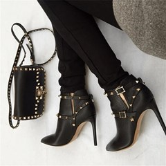 Shoespie Trendy Stiletto Heel Hasp Pointed Toe PU Boots