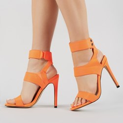 Shoespie Stylish Velcro Stiletto Heel Ankle Strap Plain Sandals