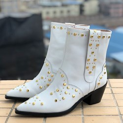 Shoespie Sexy Pointed Toe Side Zipper Chunky Heel Rivet Boots