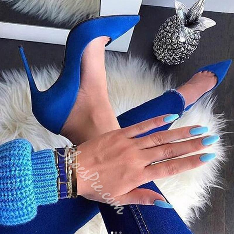 Shoespie Sexy Blue Slip-On Pointed Toe Stiletto Heels