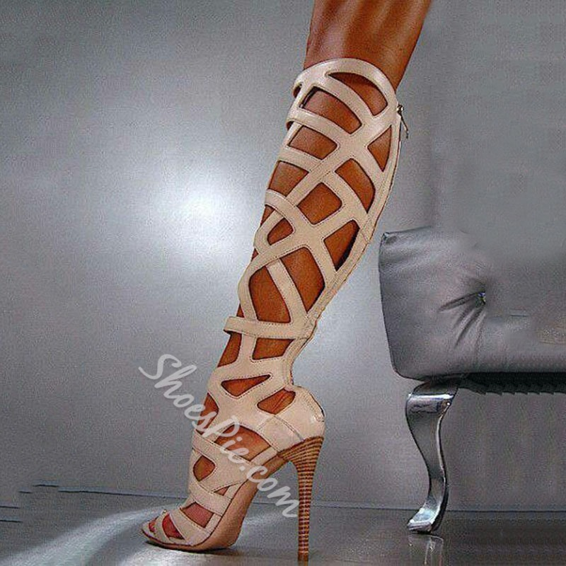 Amazing Cut-Outs Party Wearing Knee High Boots