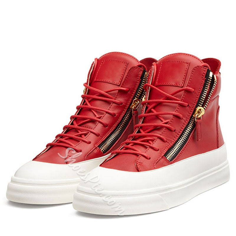Shoespie Color Block Side Zipper Men's Casual Sneakers