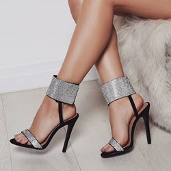 Shoespie Stylish Rhinestone Stiletto Heel Velcro Open Toe High-Cut Upper Sandals