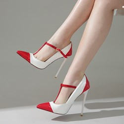 Shoespie Sexy Stiletto Heel Pointed Toe T-Shaped Buckle Color Block Thin Shoes