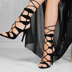 Shoespie Sexy Black Stiletto Heel Open Toe Lace-Up Sandals