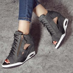 Shoespie Trendy Cross Strap Zipper Hollow Peep Toe High Heel Sneakers