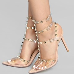Shoespie Trendy Rivet Pointed Toe Buckle Stiletto Heel Western Sandals