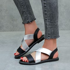 Shoespie Stylish Slip-On Block Heel Open Toe Flat Sandals