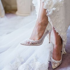 Shoespie Stylish Sequin Stiletto Heel See-Through Pointed Toe Bridal Shoes
