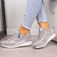 Shoespie Sexy Thread Round Toe Zipper PU Sneakers