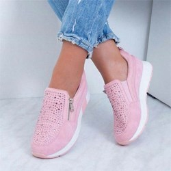 Shoespie Sexy Slip-On Flat With Rhinestone Low Heel Sneakers